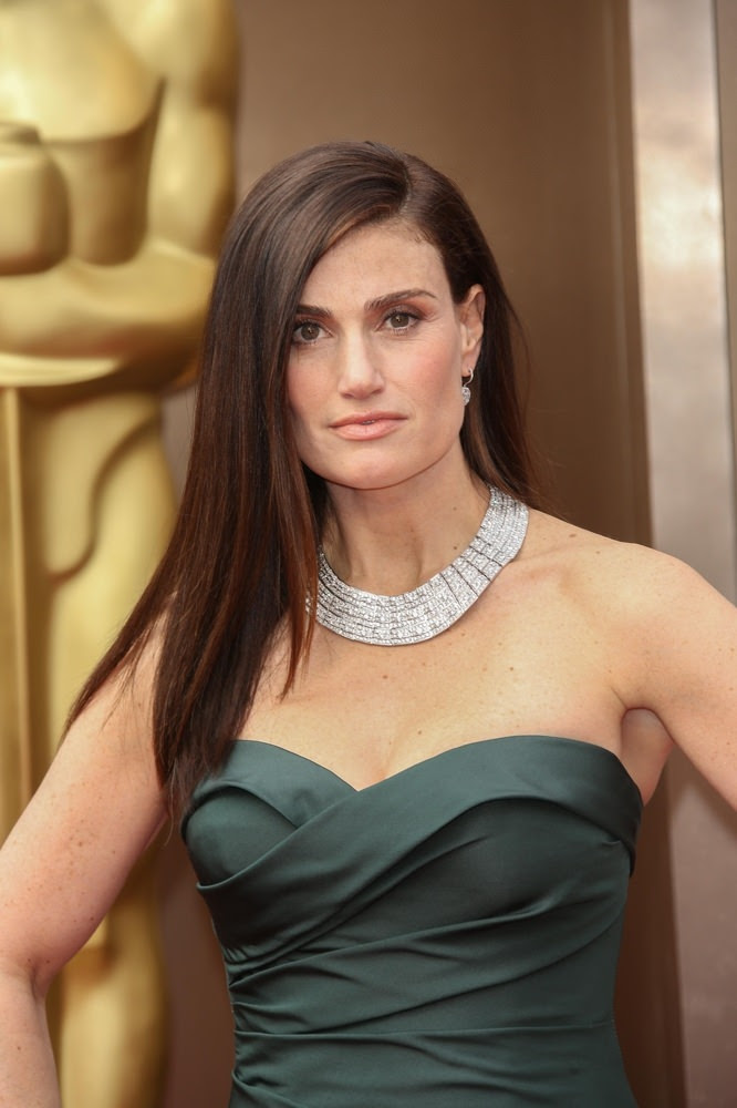 Idina Menzel Straight Hairstyle with Side Part