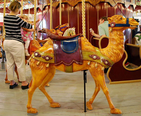 One of the carved Coney Island style animals on the Port Dalhousie Carousel that was built in 1903 by the Charles I.D. Looff Company of Riverside, Rhode Island.