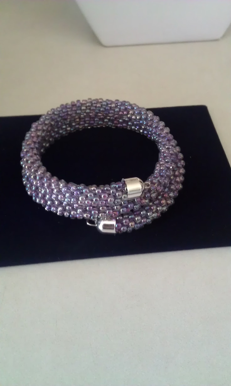 Purple seed bead Kumihimo bracelet Strung on memory wire