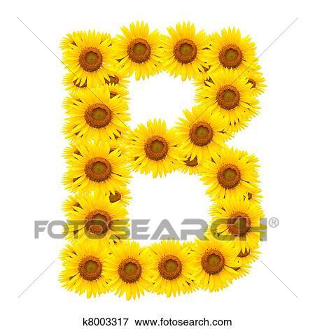Stock Illustration of alphabet B , sunflower k8003317 ...
