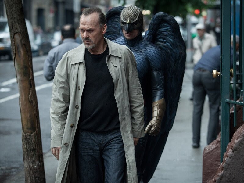 In Birdman, Michael Keaton (a real-life former Batman) plays a former movie superhero who's trying to get a grasp on his career.