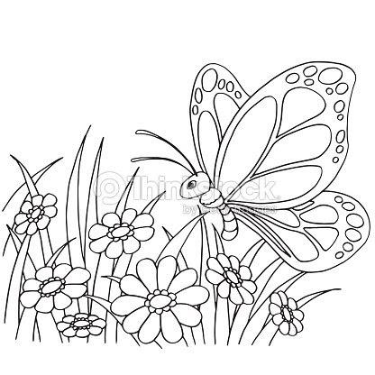 Dibujos Animados De Mariposas Y Flores Para Colorear Vector Página