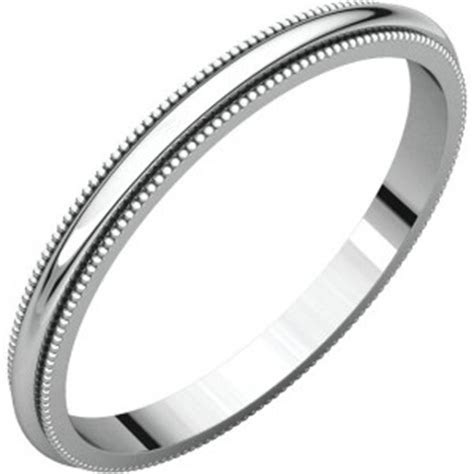Milgrain Wedding Bands 18k White Gold Milgrain Wedding