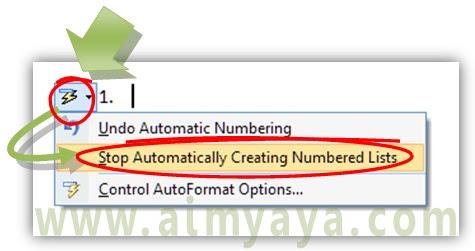 Gambar: Cara cepat menonaktifkan numbering otomatis di microsoft word