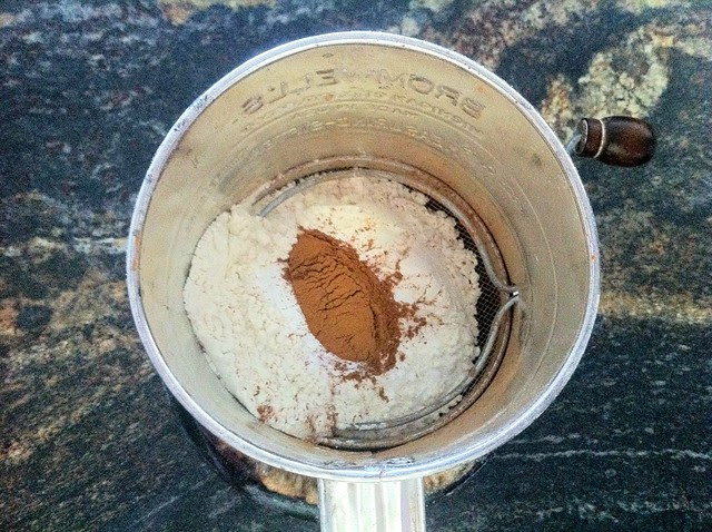 Flour, Leveners and Cinnamon in Sifter