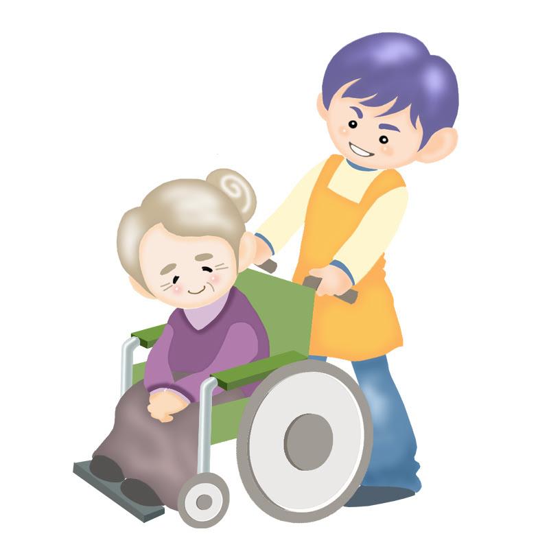 イラスト介護 病人 車いす 老人 男性 女性 老人 仕事 おばあさん