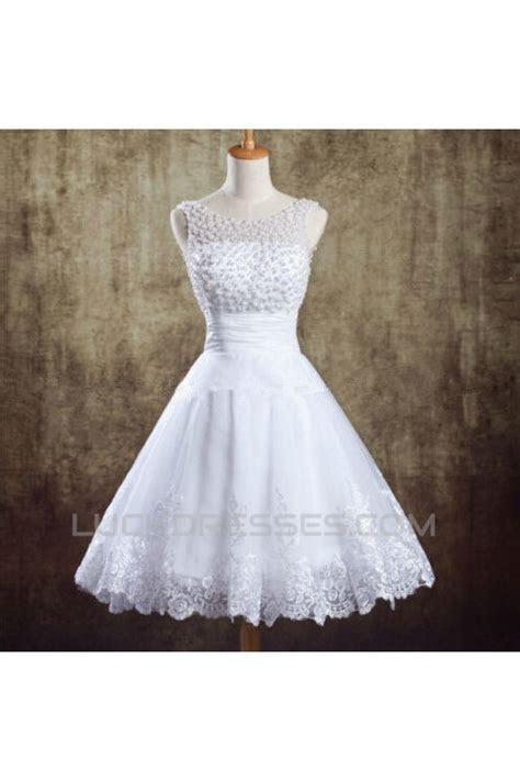 A line Beaded Lace Short Bridal Wedding Dresses WD010831