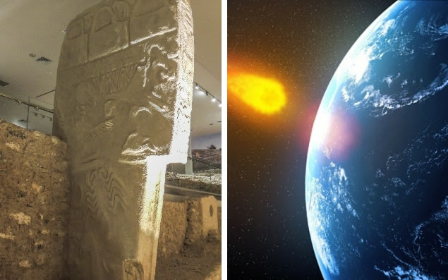 The Vulture Stone from Gobekli Tepe (left) which recorded a devastating comet strike (right)