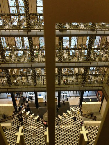 Through the gold screens, NYU's Bobst Library