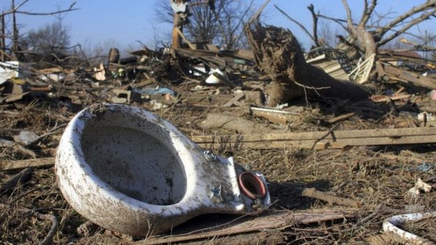 Debris after a storm in Mississippi