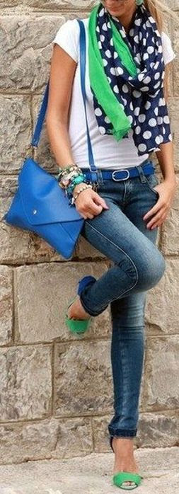 Skinny Jeans w/ Blue & Green // Love this Color Combination ♡. Summer