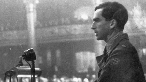 Denis Healey, in army uniform speaks at Conference in 1945