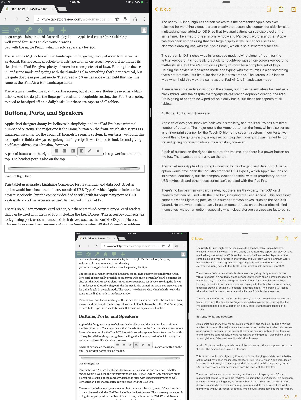 Split Screen on iPad Pro vs. iPad Air 2