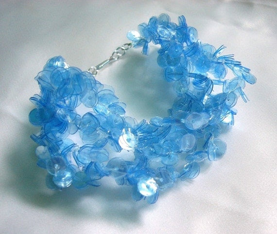 Recycled plastic bottle blue bracelet - sea blue sequins, sustainable, upcycled jewelry