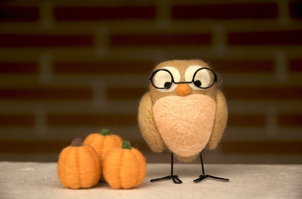 Dad and the Pumpkin Patch - Needle Felted Owl and Pumpkins