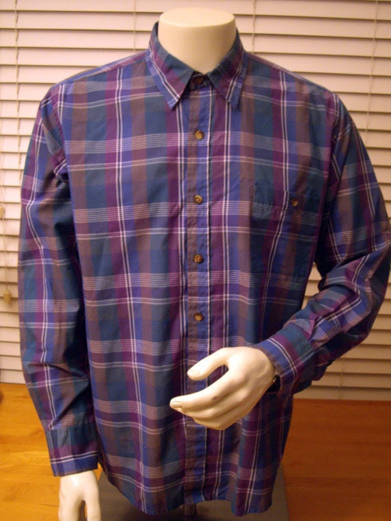 Archival Flannel Plaid Shirt -- Large -- Nice Colours