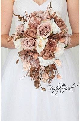 Rose gold bling glitter jewel wedding flowers cascading