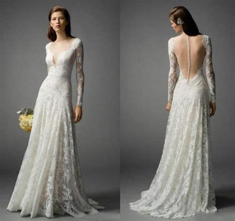 Long Sleeve 2016 Bohemian Wedding Dresses Lace Floor