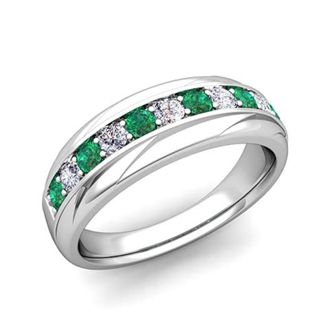 love diamond  emerald mens wedding band ring   gold