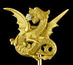 French stickpin of rising dragon with diamond. (J9163)