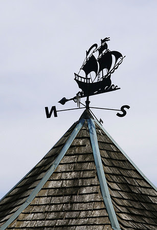The weathervane atop the gazebo.