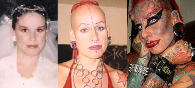 The changing face of Maria Hose Cristerna. Seen left is her marriage photo at the age of 17