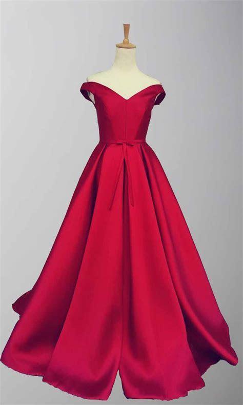 Red Satin Off Shoulder Full Length Prom Gowns KSP456   £101.00