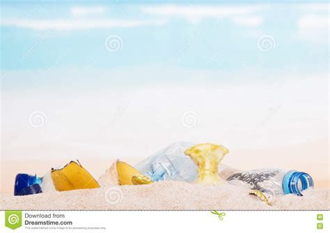 Household And Food Waste In The Sand On Beach, Background