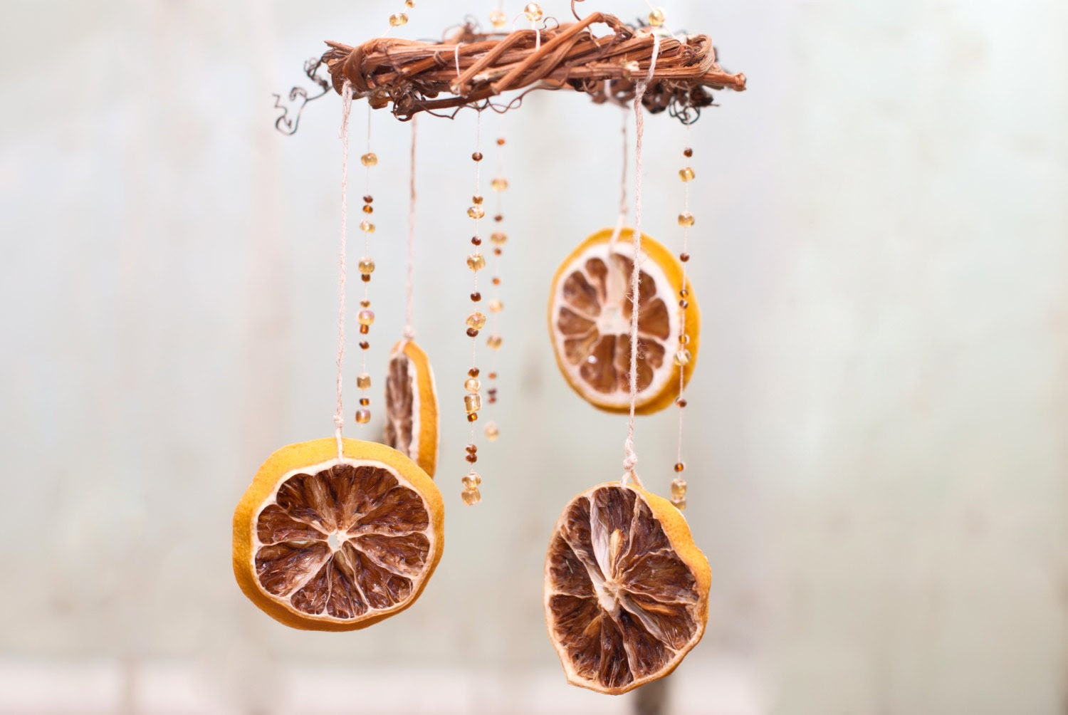 Mobile - Decoration - Garland - Home Decor - Natural Elements - Rustic Mobile - Brown Orange - Nature Woodland Country - Eco Friendly