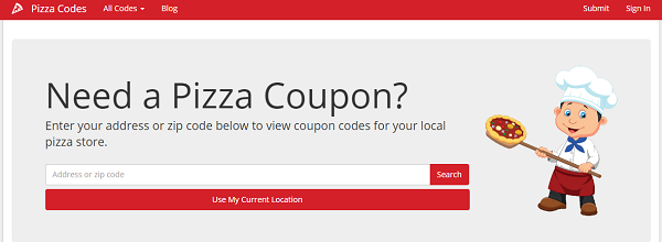 PizzaCodes.com shows pizza coupon codes based on your location.