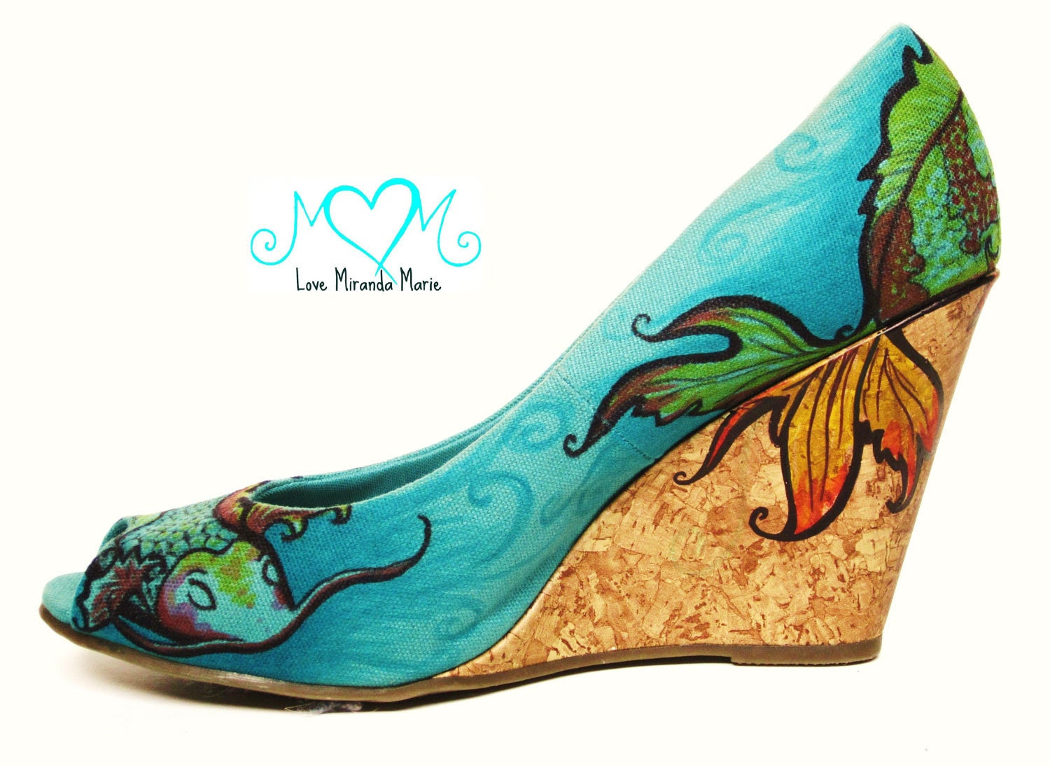 Hand Painted Shoes - Koi Fish - Walking Art