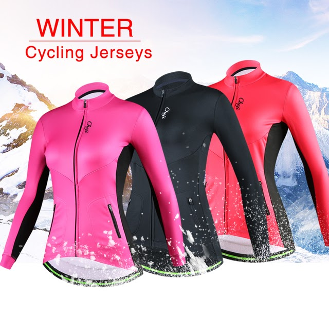 CHEJI Mens Retro Thermal Winter Cycling Jersey Pants Set Fleece Cycling Long Kit