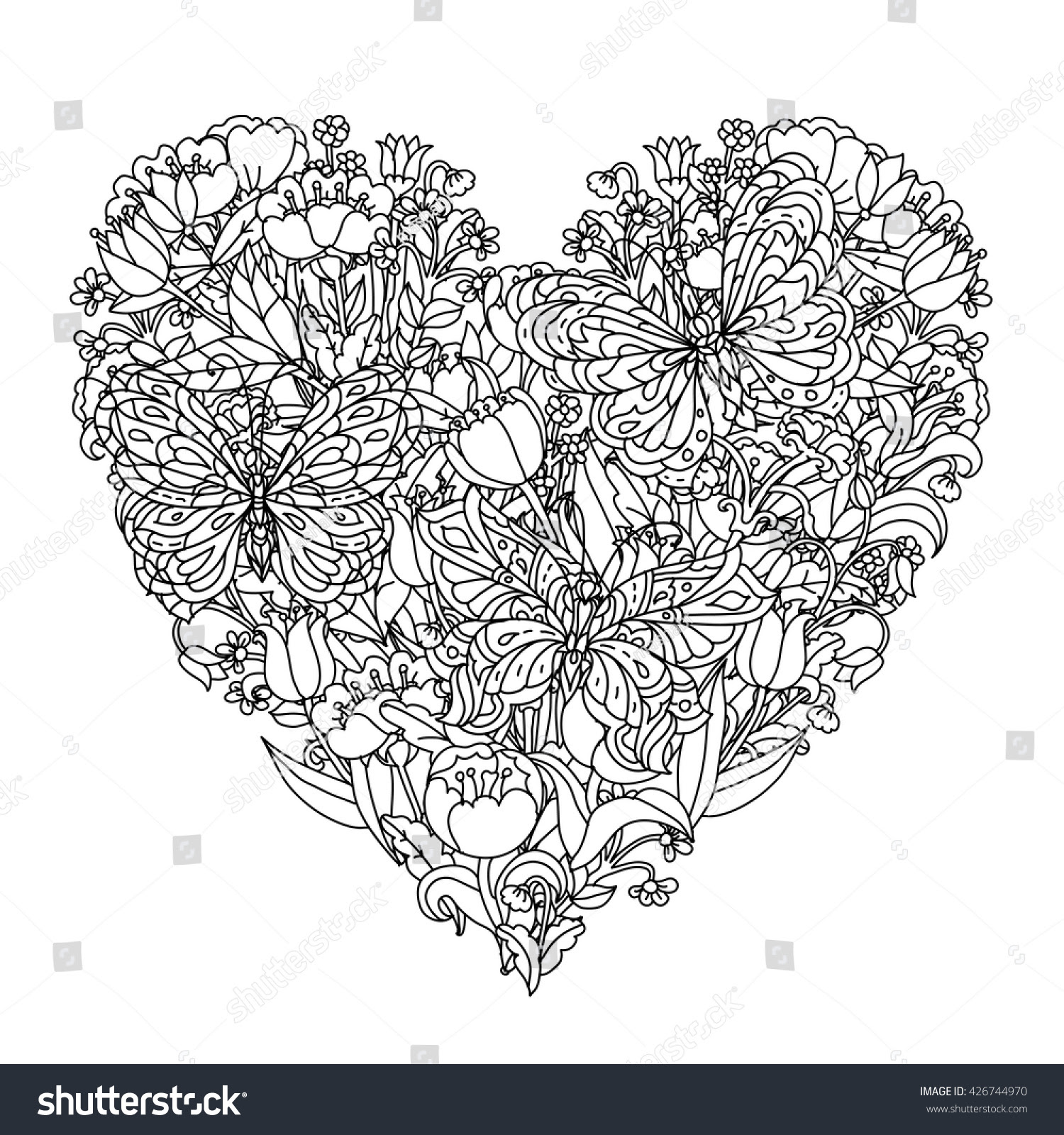 Heart Shape Flowers And Butterfly For Adult Coloring Book ...