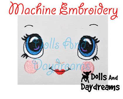 Kawaii Cute Embrodery Doll Face Designs by Dolls And Daydreams 2