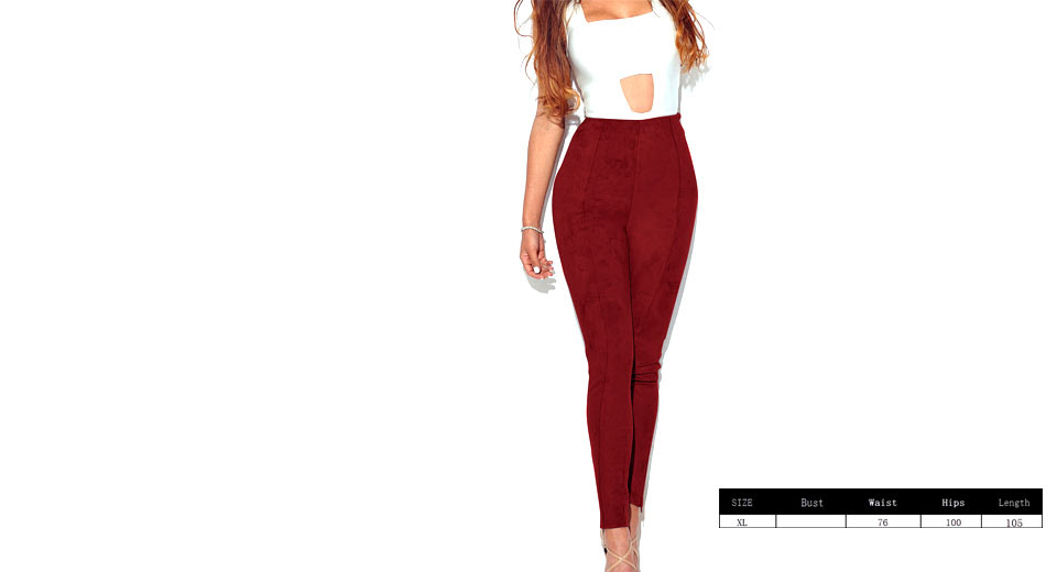 Womens Ultra Soft Slimming Stretchy Suede Leggings Pants (Size XL)