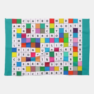 Kitchen Towel with Spanish Language Months Design
