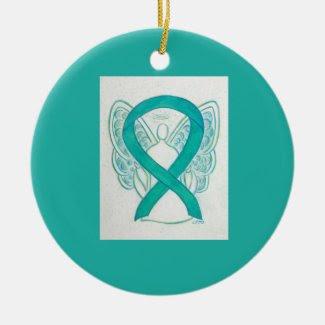 Emerald Green Awareness Ribbon Angel Art Ornaments