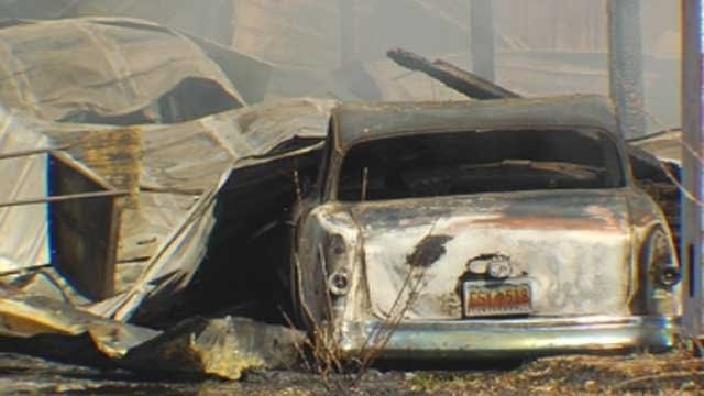 Smoke rises from the charred remains of a Studebaker after a fire in Chesnee. (Feb. 6, 2013/FOX Carolina)
