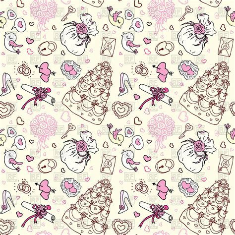 Wedding patterns of cute hand drawn hearts and cakes