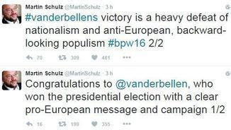 Tuits de Martin Schultz després de la victòria de Van der Bellen