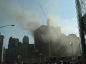 A view of the Deutsche Bank Building fire on A...
