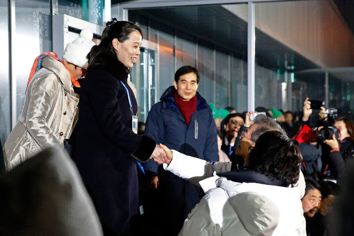 Kim Jong Un's sister Kim Yo Jong, (2nd left) shakes hands with South Korea's President Moon Jae-in during the opening ceremony.