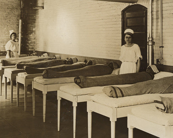 1. In psychiatric hospitals patients were wrapped in wet blankets to comfort.  Medicine, retro, photo