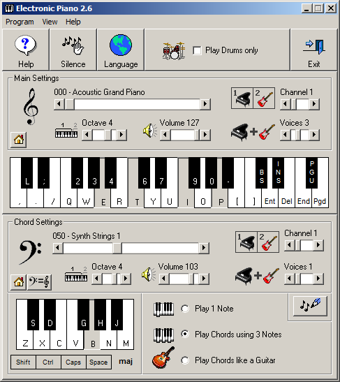 Electronic Piano 2.5 main screen
