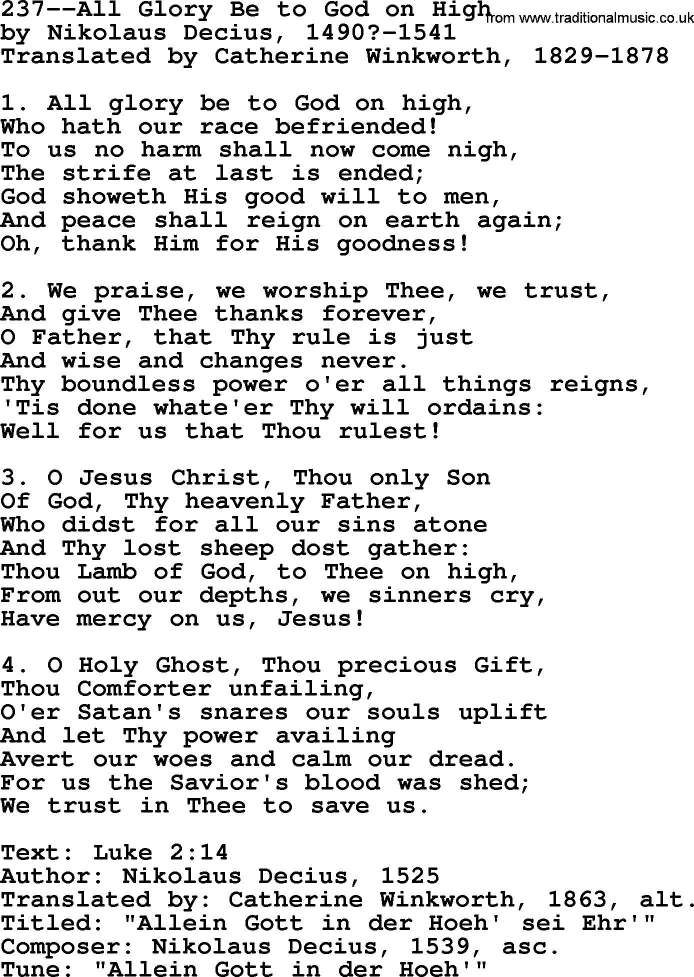Lutheran Hymns Song237 All Glory Be To God On High Lyrics And Pdf