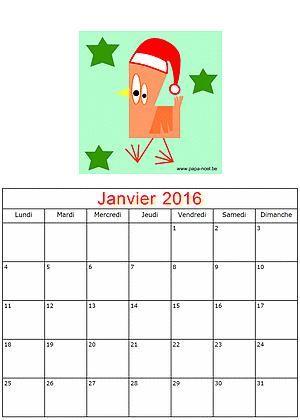 Imprimer calendrier janvier 2016