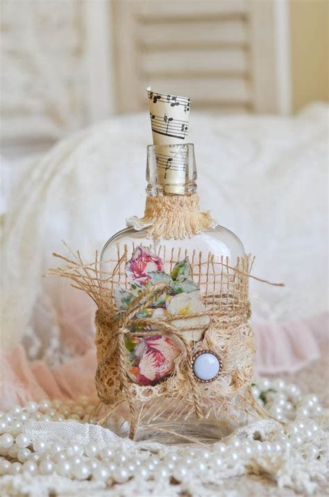 French Inspired Altered Vintage Bottle   All Things