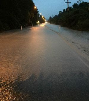 Flooding on a road near Franz Josef today