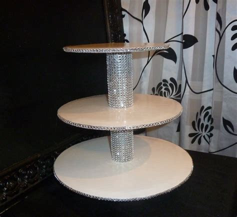3 tier bling faux rhinestone cupcake stand tower wedding cake