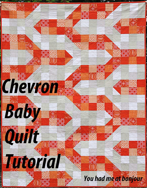 Orange Chevron Baby Quilt Tutorial